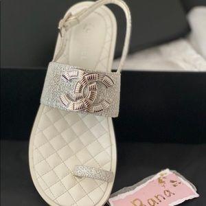 Chanel CC thong Sandal flat shoes silver white 37